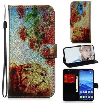 Tiger Rose Laser Shining Leather Wallet Phone Case for Huawei Mate 20 Lite