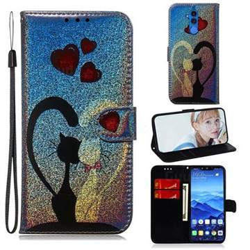 Love Cat Laser Shining Leather Wallet Phone Case for Huawei Mate 20 Lite