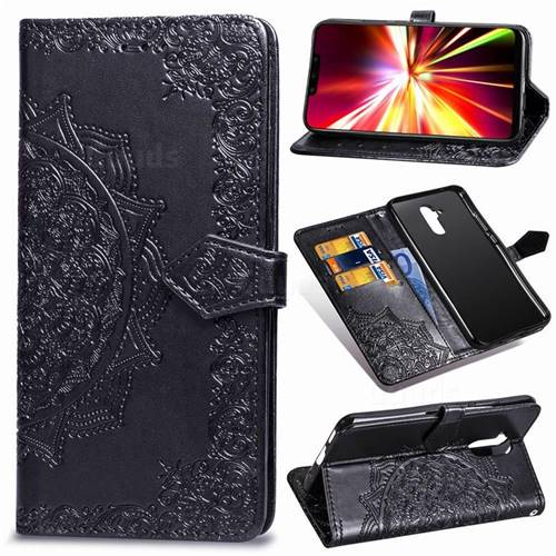 Embossing Imprint Mandala Flower Leather Wallet Case for Huawei Mate 20 Lite - Black