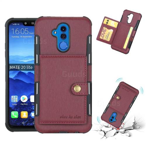 Brush Multi-function Leather Phone Case for Huawei Mate 20 Lite - Wine Red