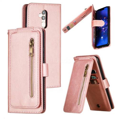 Multifunction 9 Cards Leather Zipper Wallet Phone Case for Huawei Mate 20 Lite - Rose Gold