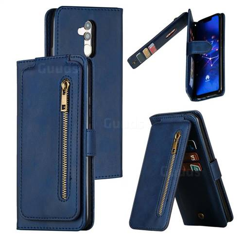 Multifunction 9 Cards Leather Zipper Wallet Phone Case for Huawei Mate 20 Lite - Blue