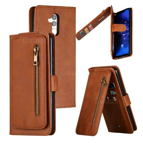 Multifunction 9 Cards Leather Zipper Wallet Phone Case for Huawei Mate 20 Lite - Brown