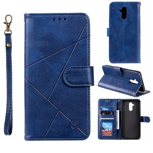 Embossing Geometric Leather Wallet Case for Huawei Mate 20 Lite - Blue