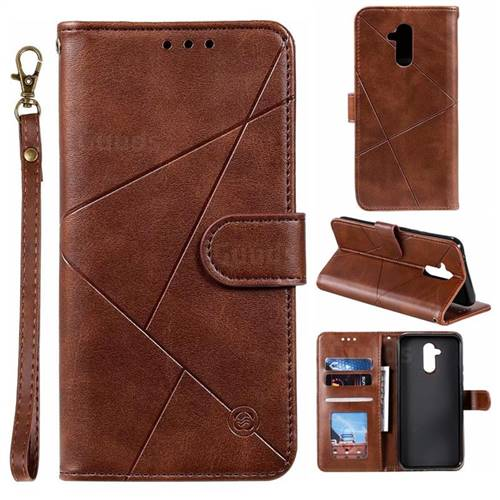 Embossing Geometric Leather Wallet Case for Huawei Mate 20 Lite - Brown