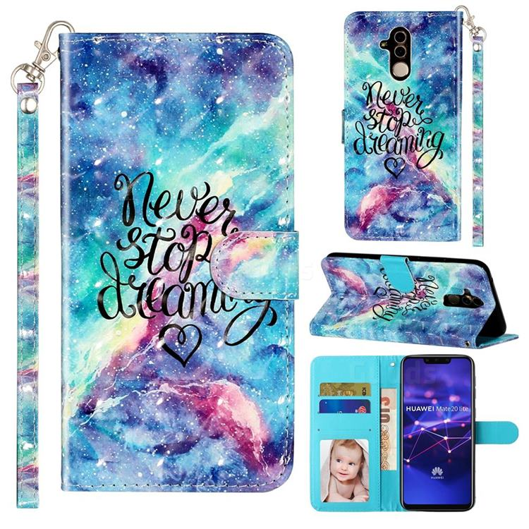 Blue Starry Sky 3D Leather Phone Holster Wallet Case for Huawei Mate 20 Lite