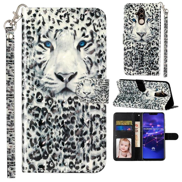 White Leopard 3D Leather Phone Holster Wallet Case for Huawei Mate 20 Lite