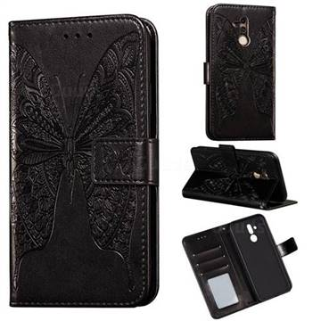 Intricate Embossing Vivid Butterfly Leather Wallet Case for Huawei Mate 20 Lite - Black