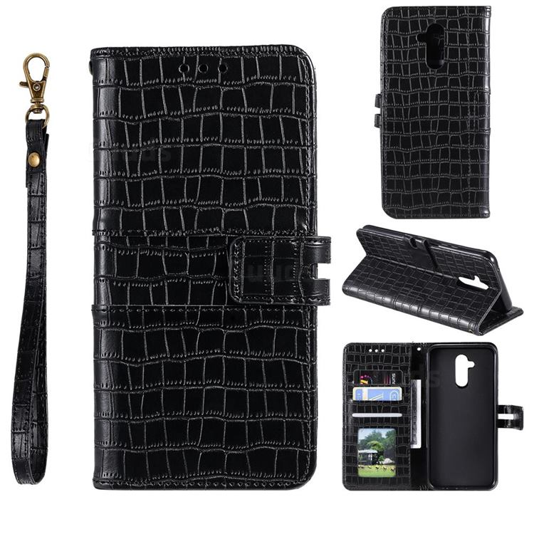 Luxury Crocodile Magnetic Leather Wallet Phone Case for Huawei Mate 20 Lite - Black