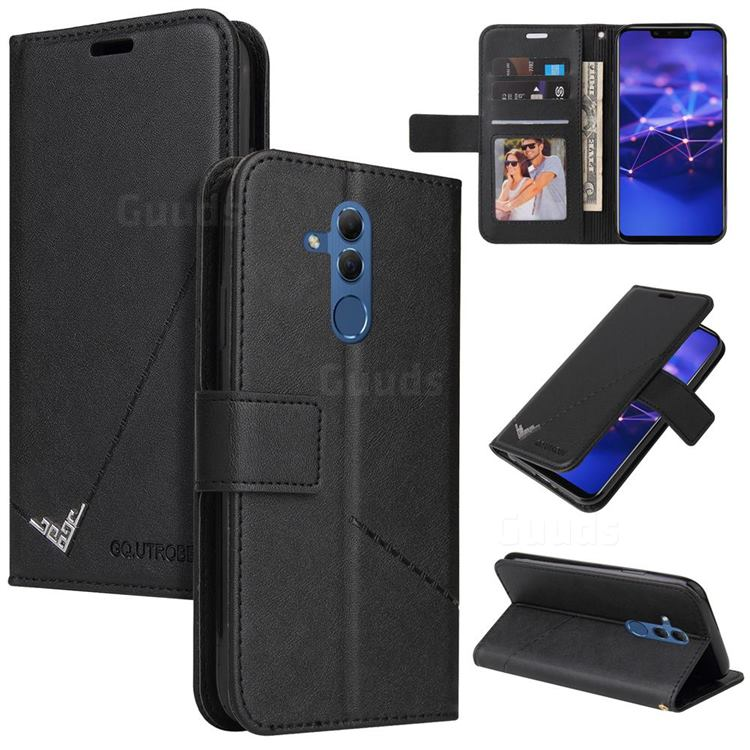 GQ.UTROBE Right Angle Silver Pendant Leather Wallet Phone Case for Huawei Mate 20 Lite - Black
