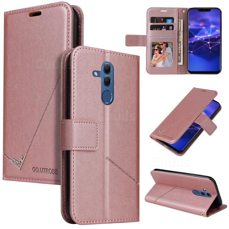 GQ.UTROBE Right Angle Silver Pendant Leather Wallet Phone Case for Huawei Mate 20 Lite - Rose Gold