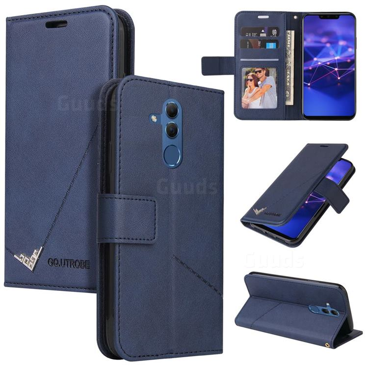 GQ.UTROBE Right Angle Silver Pendant Leather Wallet Phone Case for Huawei Mate 20 Lite - Blue