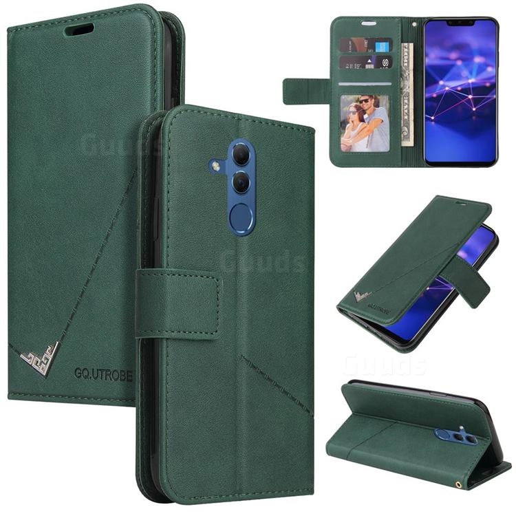 GQ.UTROBE Right Angle Silver Pendant Leather Wallet Phone Case for Huawei Mate 20 Lite - Green