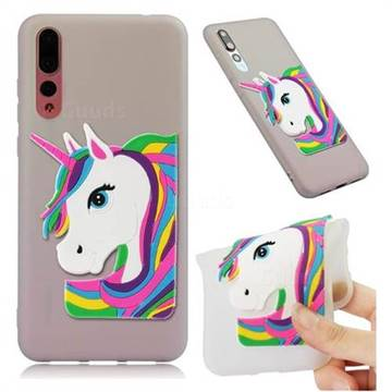 Rainbow Unicorn Soft 3D Silicone Case for Huawei Mate 20 Pro - Translucent White