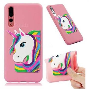 Rainbow Unicorn Soft 3D Silicone Case for Huawei Mate 20 Pro - Pink