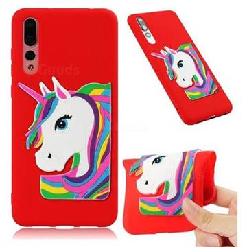 Rainbow Unicorn Soft 3D Silicone Case for Huawei Mate 20 Pro - Red