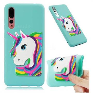 Rainbow Unicorn Soft 3D Silicone Case for Huawei Mate 20 Pro - Sky Blue