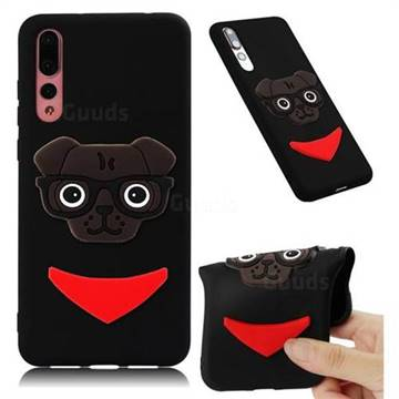 Glasses Dog Soft 3D Silicone Case for Huawei Mate 20 Pro - Black