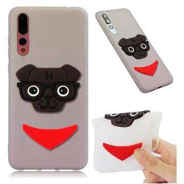 Glasses Dog Soft 3D Silicone Case for Huawei Mate 20 Pro - Translucent White