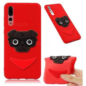 Glasses Dog Soft 3D Silicone Case for Huawei Mate 20 Pro - Red