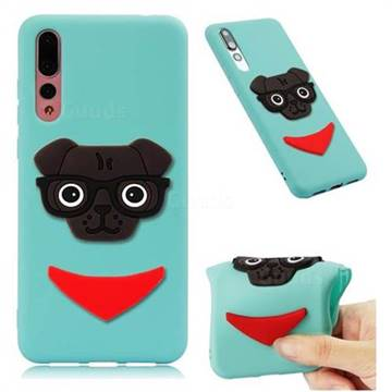 Glasses Dog Soft 3D Silicone Case for Huawei Mate 20 Pro - Sky Blue