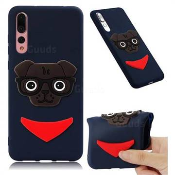 Glasses Dog Soft 3D Silicone Case for Huawei Mate 20 Pro - Navy