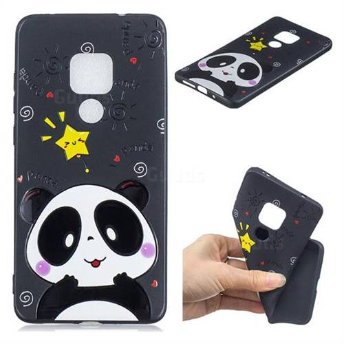 Cute Bear 3D Embossed Relief Black TPU Cell Phone Back Cover for Huawei Mate 20 Pro