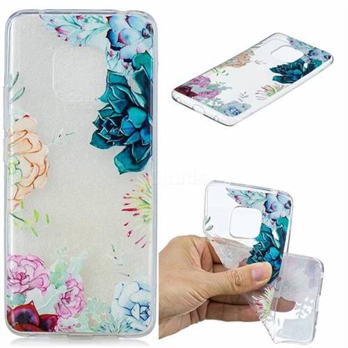Gem Flower Clear Varnish Soft Phone Back Cover for Huawei Mate 20 Pro