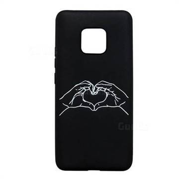 Heart Hand Stick Figure Matte Black TPU Phone Cover for Huawei Mate 20 Pro