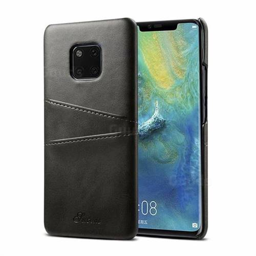 Suteni Retro Classic Card Slots Calf Leather Coated Back Cover for Huawei Mate 20 Pro - Black