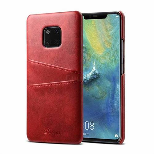 Suteni Retro Classic Card Slots Calf Leather Coated Back Cover for Huawei Mate 20 Pro - Red