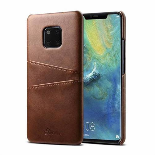 Suteni Retro Classic Card Slots Calf Leather Coated Back Cover for Huawei Mate 20 Pro - Brown