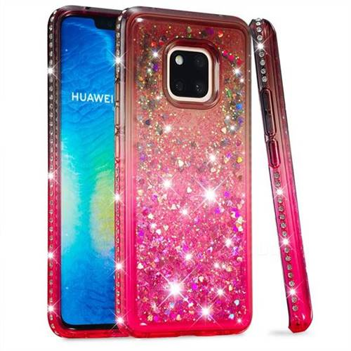 Diamond Frame Liquid Glitter Quicksand Sequins Phone Case for Huawei Mate 20 Pro - Gray Pink