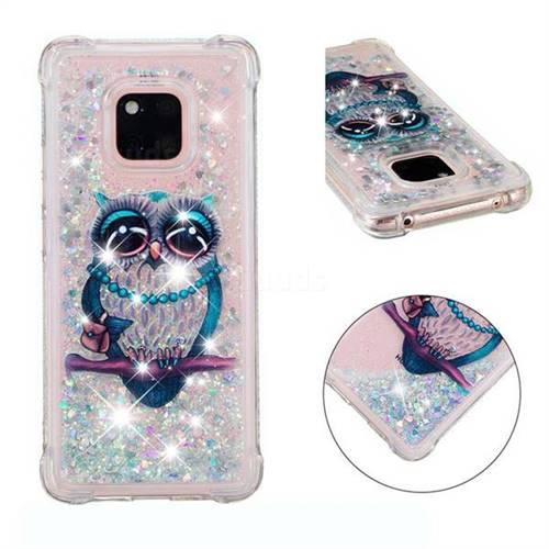 Sweet Gray Owl Dynamic Liquid Glitter Sand Quicksand Star TPU Case for Huawei Mate 20 Pro