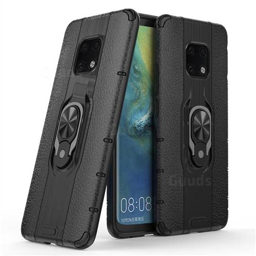 Alita Battle Angel Armor Metal Ring Grip Shockproof Dual Layer Rugged Hard Cover for Huawei Mate 20 Pro - Black