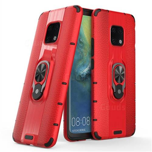 Alita Battle Angel Armor Metal Ring Grip Shockproof Dual Layer Rugged Hard Cover for Huawei Mate 20 Pro - Red