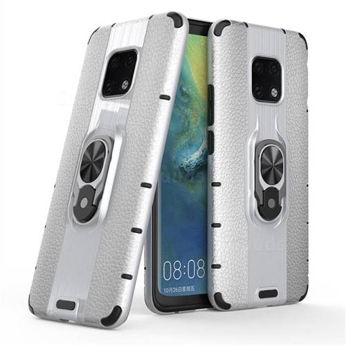 Alita Battle Angel Armor Metal Ring Grip Shockproof Dual Layer Rugged Hard Cover for Huawei Mate 20 Pro - Silver