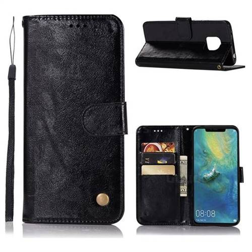 Luxury Retro Leather Wallet Case for Huawei Mate 20 Pro - Black