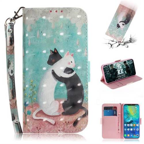 Black and White Cat 3D Painted Leather Wallet Phone Case for Huawei Mate 20 Pro