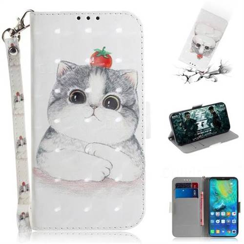 Cute Tomato Cat 3D Painted Leather Wallet Phone Case for Huawei Mate 20 Pro