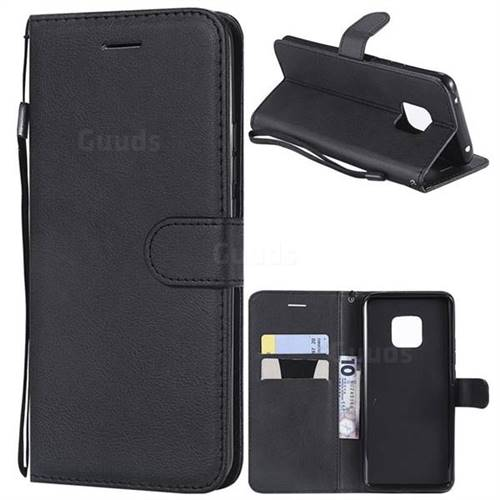 Retro Greek Classic Smooth PU Leather Wallet Phone Case for Huawei Mate 20 Pro - Black