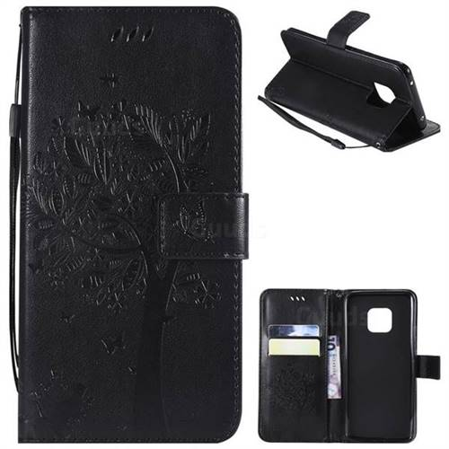 Embossing Butterfly Tree Leather Wallet Case for Huawei Mate 20 Pro - Black