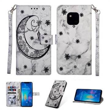 Moon Flower Marble Leather Wallet Phone Case for Huawei Mate 20 Pro - Black