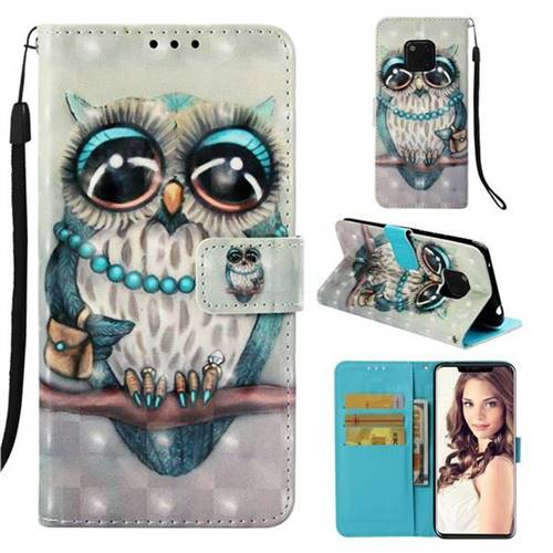 Sweet Gray Owl 3D Painted Leather Wallet Case for Huawei Mate 20 Pro