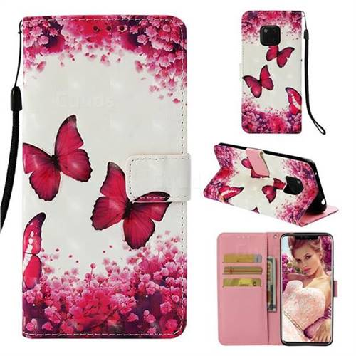 Rose Butterfly 3D Painted Leather Wallet Case for Huawei Mate 20 Pro