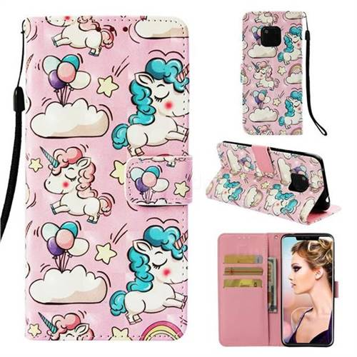 Angel Pony 3D Painted Leather Wallet Case for Huawei Mate 20 Pro