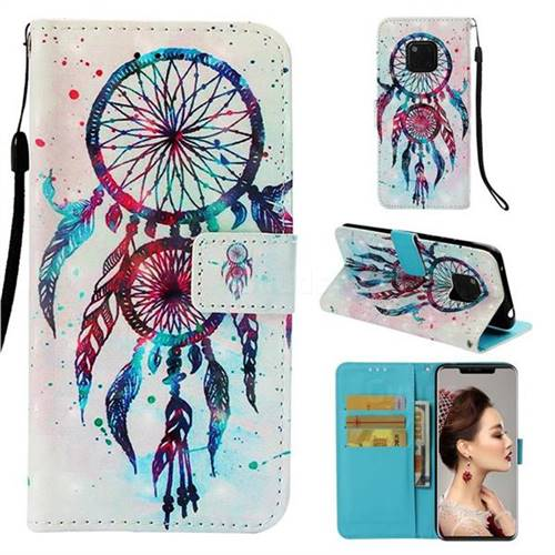ColorDrops Wind Chimes 3D Painted Leather Wallet Case for Huawei Mate 20 Pro
