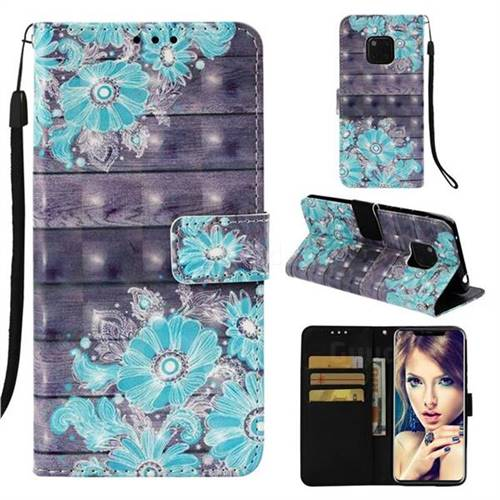 Blue Flower 3D Painted Leather Wallet Case for Huawei Mate 20 Pro