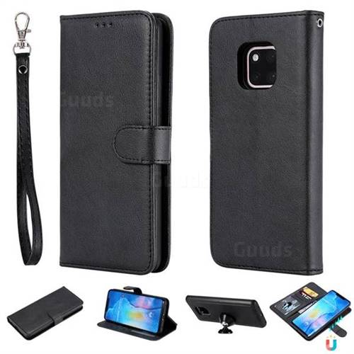 Retro Greek Detachable Magnetic PU Leather Wallet Phone Case for Huawei Mate 20 Pro - Black