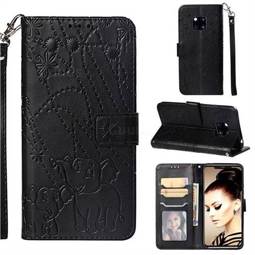 Embossing Fireworks Elephant Leather Wallet Case for Huawei Mate 20 Pro - Black